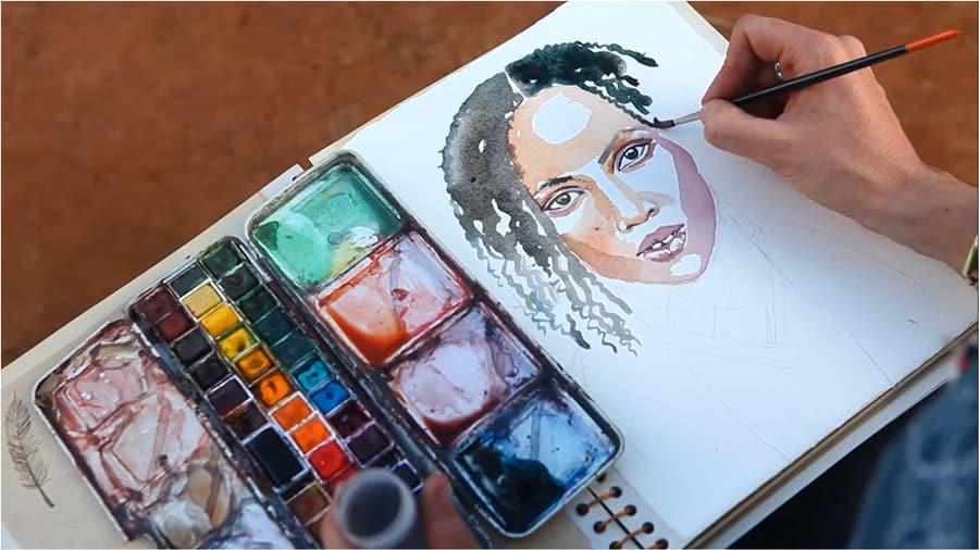 peinture femme africaine par stéphanie ledoux