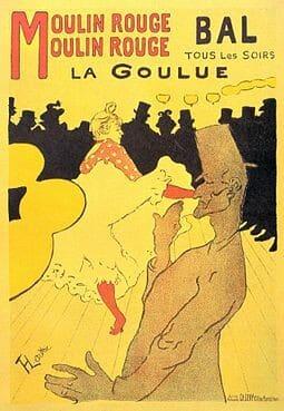Tableau en couleur de Toulouse-Lautrec représentant La Goulue qui arrive au Moulin Rouge avec deux femmes.